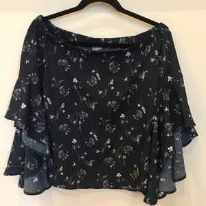 Chelsea28 Bell Sleeve Off the Shoulder Top Blue XS